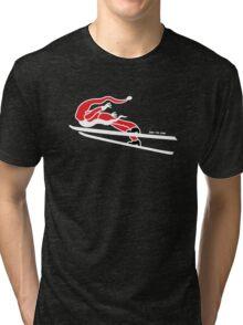 Santa Claus Goes Ski Jumping Tri-blend T-Shirt