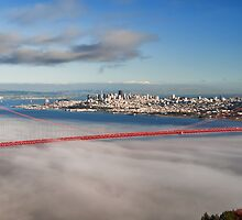 San Francisco Cityscape Golden Gate Bridge by upthebanner