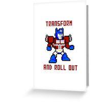 8bit Optimus Prime Transformers Greeting Card