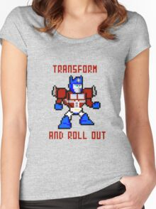 8bit Optimus Prime Transformers Women's Fitted Scoop T-Shirt