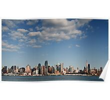 Panoramic New York City Skyline Cityscape Hudson River Poster
