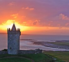 Sunset Over Doolin Castle, County Clare, Ireland by upthebanner
