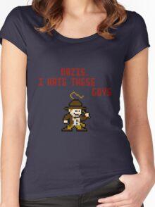 8bit Indiana Jones Hates Nazis Women's Fitted Scoop T-Shirt