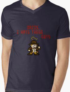 8bit Indiana Jones Hates Nazis Mens V-Neck T-Shirt