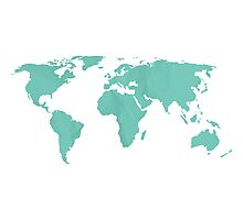 Simple Teal World map Photographic Print