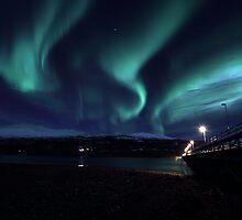 Wooden brigde with Aurora Borealis by Frank Olsen