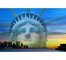 New York City Sunset Skyline Statue Liberty Hudson River Photographic Print