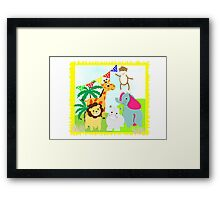 Kids Fun Cartoon Jungle Animals Framed Print
