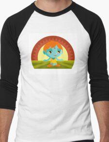little cute meditating buddha  Men's Baseball ¾ T-Shirt