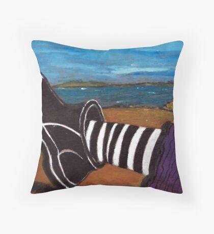 Ferns Foot - plein air 9x5 Throw Pillow