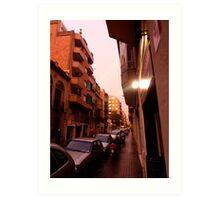 Barcelona Streetview after Rain Art Print