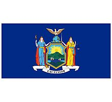 New York City Flag, American Flags, Flag of New York City, on Dark Blue Photographic Print
