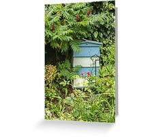 Blue and white beehive Greeting Card