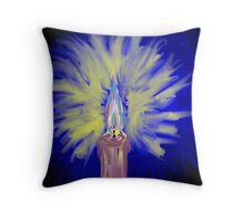The soft light of a candle  Throw Pillow