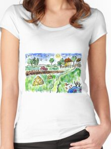Rural Landscape Women's Fitted Scoop T-Shirt