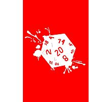 D20 splatter white out geek funny nerd Photographic Print