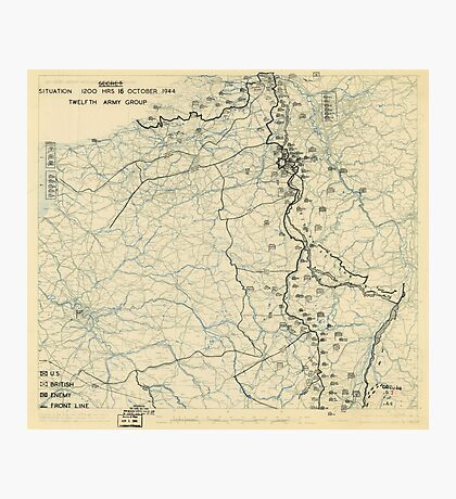 World War II Twelfth Army Group Situation Map October 16 1944 Photographic Print