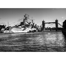 HMS Belfast and Tower Bridge 2 in Black and White Photographic Print