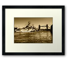 HMS Belfast and Tower Bridge 2 in Sepia Framed Print