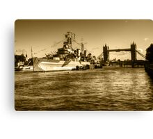 HMS Belfast and Tower Bridge 2 in Sepia Canvas Print