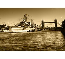 HMS Belfast and Tower Bridge 2 in Sepia Photographic Print