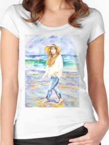 Barefoot On The Beach. Women's Fitted Scoop T-Shirt
