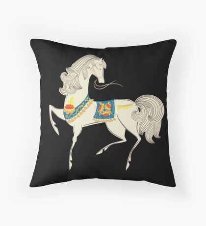 Dancing Horse in White Throw Pillow