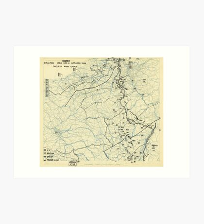 World War II Twelfth Army Group Situation Map October 4 1944 Art Print