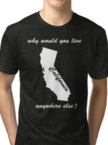 why would you live anywhere else - white text Tri-blend T-Shirt