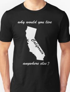 why would you live anywhere else - white text T-Shirt