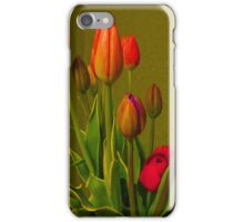 Tulips Against Green iPhone Case/Skin