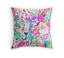 Wild Garden Painterly Watercolor Floral Throw Pillow