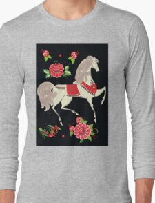 Dancing Horse in Black Background Pattern Long Sleeve T-Shirt