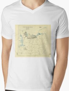 World War II Twelfth Army Group Situation Map June 12 1944 Mens V-Neck T-Shirt