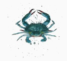Blue Crab Watercolor One Piece - Short Sleeve