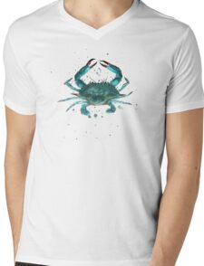 Blue Crab Watercolor Mens V-Neck T-Shirt