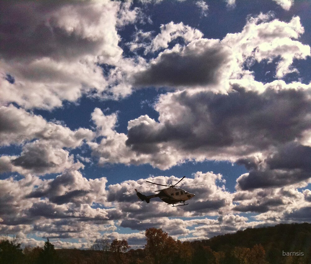 Medavac Helicopter on a Windy, Cloudy Day  by barnsis