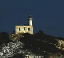 Greek  light house  by larry flewers