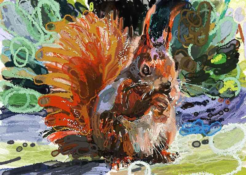Gloopy squirell.   Drawn and painted freehand,digital pen and brush. by Tarahala