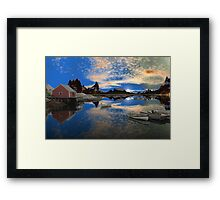 Tranquility Harbor -Twin Suns Framed Print
