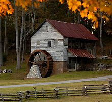 Grist Mill in Fall by Jimmy Phillips