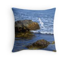 The Rocky Coast Line at Point Judith, RI [3] Throw Pillow