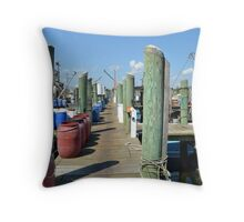 Boat Docks at Point Judith, RI [5] Throw Pillow