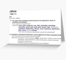 What does Value mean ? Greeting Card