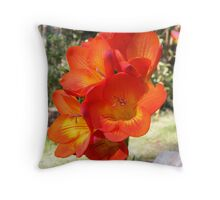 Red Freesia Throw Pillow