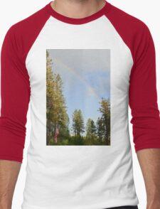 Rainbow over american flag Men's Baseball ¾ T-Shirt