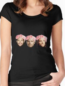 Jared Padalecki, Jensen Ackles, and Misha Collins Women's Fitted Scoop T-Shirt