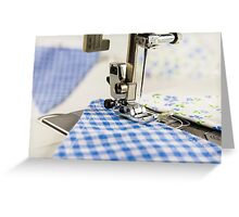 Sewing Blue Bunting  Greeting Card