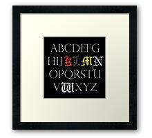 Death Note Alphabet Framed Print