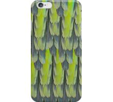 texture and background of colorful feathers of a parrot green iPhone Case/Skin